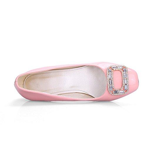 AgooLar Damen Quadratisch Zehe Niedriger Absatz Lackleder Eingelegt Ziehen auf Pumps Schuhe Pink