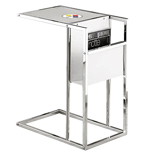 Under Glass Team Logo (New Chrome Finish Slide-Under TV Tray with a Frosted Glass Shelf, Magazine Rack & Your Choice of Football Team Logo! (Steelers))