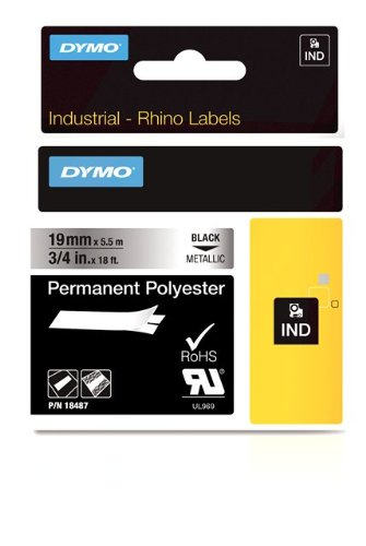 DYMO Industrial Permanent Labels for DYMO LabelWriter and Industrial RhinoPro Label Makers, Black on Metallic, 3/4