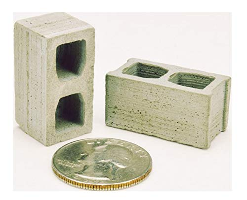 Dollhouse Miniature 1:12 Scale Set of 2 Artisan Cinder Blocks in Real - Miniature Cinder Block