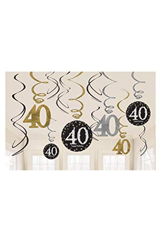 Amscan Sparkling Celebration 40 Value Pack Foil Swirl Decorations , Multicolor, One Size, 12ct -