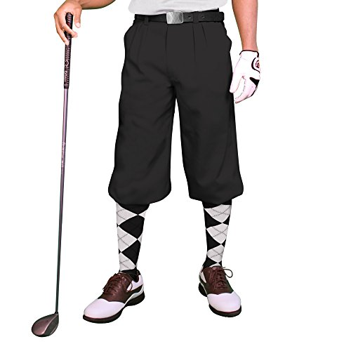 Black Golf Knickers: Mens 'Par 3' - Microfiber - 48""