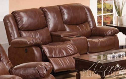 ACME 50204 Fullerton Bonded Leather Loveseat and Console, Brown