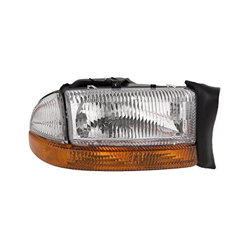 HEADLIGHTSDEPOT Halogen Headlight Compatible with Dodge Dakota Durango Includes Right Passenger Side Headlamp Dakota Passenger Side Headlamp