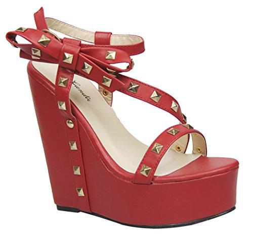 Archi Borchiati Strappy Open Toe Piattaforma Sandalo Con Zeppa Rosso