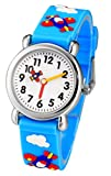 Tonnier 3D Kids Watches Healthy Material Rubber Band Children Watches (Airplane)