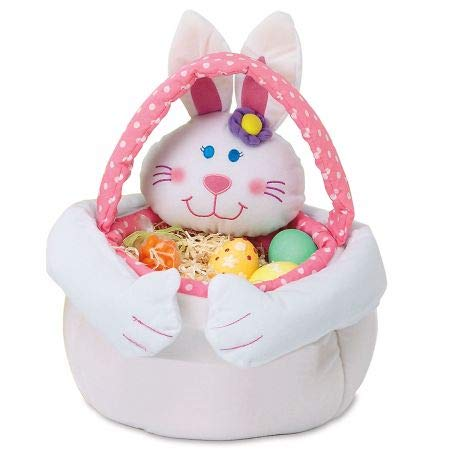 Plush Pink Bunny Easter Basket - 14 Inches Tall, Easter Egg Hunting Tote for Girls ()