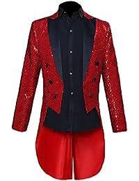 Mens Sequin Tuxedo Jacket Tails Slim Fit Tailcoat Dress Coat Swallowtail Dinner Party Wedding Blazer Suit Jacket