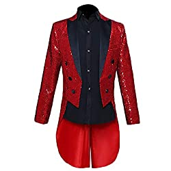 Men's Slim Fit Sequin Tailcoat
