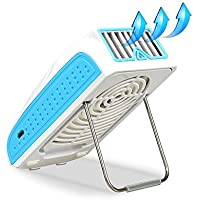 NUTK Small Personal Fan with 2000mAh Power Bank, 2 IN 1 Mini Battery USB Desk Fan with Portable Charger and Adjustable Stand for Travel Office School Kitchen Outdoor Sports Camping Equipment (Blue)