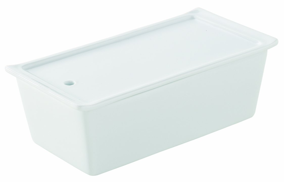 Revol 638555 Terrine Rectangular with Lid and Porcelain Tray 24.2 x 11.4 x 7 cm White by Revol
