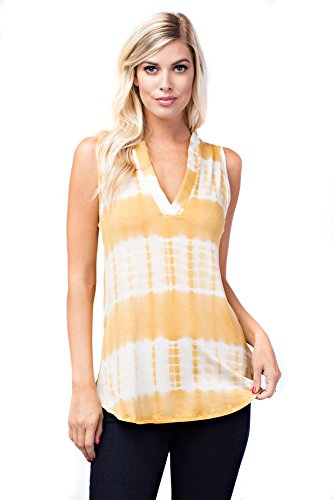 Betsy Red Couture Women's Soft Knit Sleeveless Notch Neck Tunic Top (L, BR B7084 Mustard)