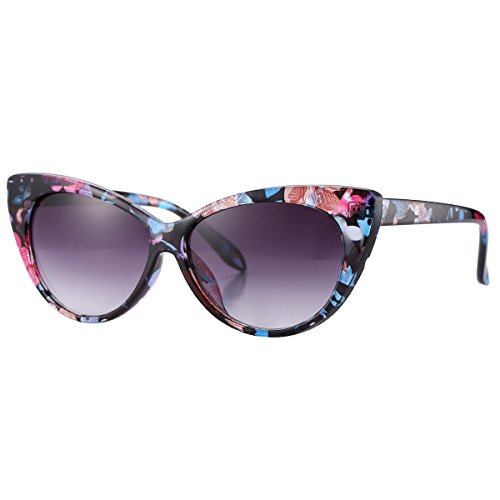 Pro Acme Super Cute Vintage Inspired Fashion Mod Chic High Pointed Cat Eye Sunglasses (Floral Frame/Grey - Sunglasses Cat Floral Eye