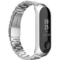 GeeRic XiaoMi Mi Band 3 Correa, XiaoMi Mi Band 3 Watch Band de Acero Inoxidable Banda Reemplazo Tres Hebilla de Cuentas Diseño Correa para XiaoMi Mi Band 3 - Plata