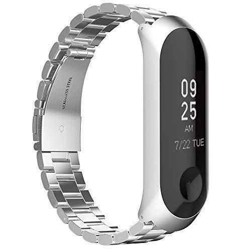 GeeRic Compatible Xiaomi Mi Band 3 Smartwatch Reemplazo Correa de metal de reemplazo para Xiaomi Mi 3 Mujeres y Hombres Plata