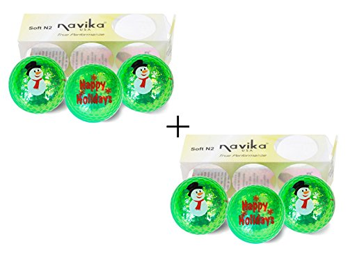 Snowman Golf Ball - Navika Christmas Golf Balls Snowman/Happy Holidays Green Metallic Double Sided Imprint Bling Balls (2 Pack)