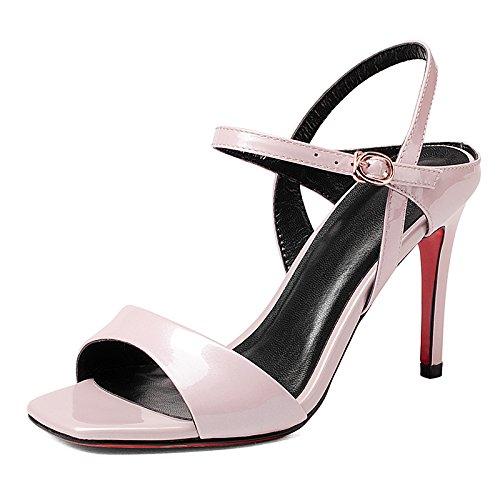 Rojo verano de cuero de moda de la hebilla Hairtail sandalia del alto talón de la muchacha Pink