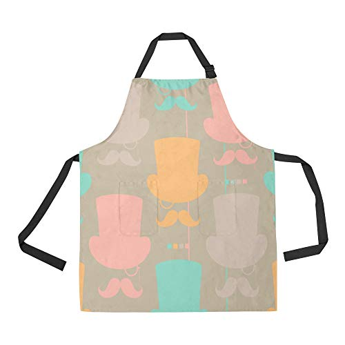 (DKGFNK Durable Hat Gentleman Hand-Painted Creative All Over Print Apron with an Adjustable Neck&Two Spacious Front Pocketst Unisex Kitchen Home Restaurant Apron for Baking Gardening)