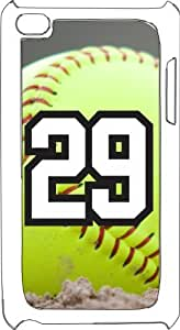 Softball Sports Fan Player Number 29 White Plastic Decorative iPod iTouch 4th Generation Case