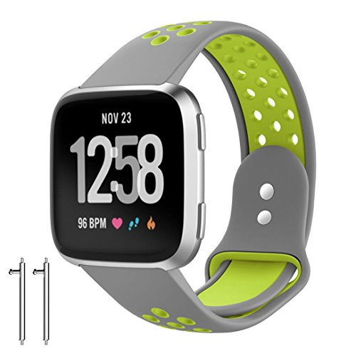HP95(TM) For Fitbit Versa Accessories,HP95 Replacement Watch Band With Ventilation Holes Soft Silicone Sport Strap+2 Strap connector For Fitbit Versa ()