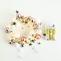 OUYAWEI Lighting 20LEDs 2M Pink White Round Ball Bell String Light Christmas Decoration