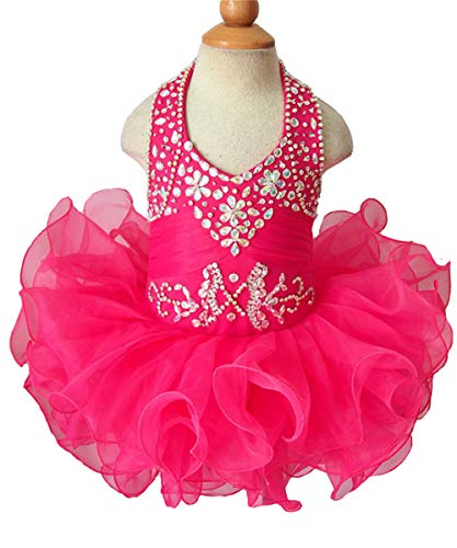 G.CHEN ChengCheng Baby Girls Halter Cupcake National Infant Pageant Dresses 2 US Fuchsia