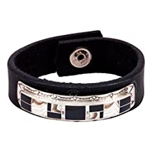 Navajo Native American Dolomite and Black Jade Leather Bracelet