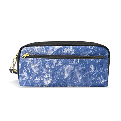 (Pencil Case Stylish Print Ice Frozen Water Cold Snow Frost Texture Macro Art Pattern Large Capacity Pen Bag Makeup Pouch Durable Students Stationery Two Pockets with Double Zipper )