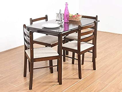 T2a Furniture Duflex Solid Wood Dining Table With High Back Chairs Set For 4 People Brown