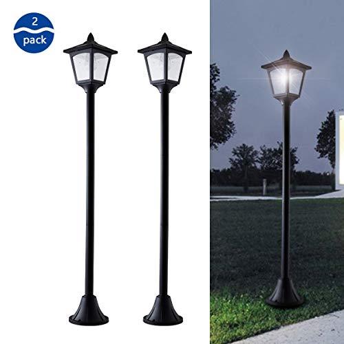 42 Inches Mini Street Post Outdoor Garden Solar Lamp Post Light Lawn - Adjustable (2 Pack) (Solar Light Post)