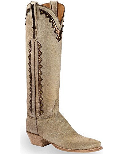 Lucchese Women's Handmade Calf Hair Danielle Tall Cowgirl Boot Pointed Toe Natural 9 M US - Lucchese Natural
