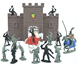 : 17 Piece Medieval Fantasy Knight & Castle Wall Army Men 53mm Figures Playset
