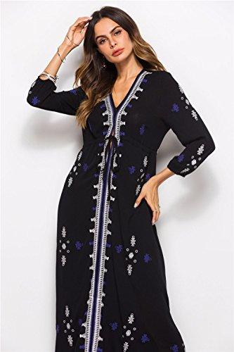 Cotton Woman Vi Irregular Casual Hem Blouse Women Dress Linen Black Long Loose Buttons rqBnErwPC