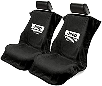 Seat Armour Universal Black Towel Front Seat Cover for Jeep Smiley Face