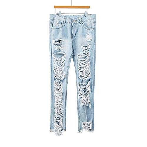 Slim Sexy jeans Buco Quarti Denim Moda Jeans Pantaloni Di Blu Vita Femmina Lqqstore Matita donna Stretch Donna Nove Mid PvCxwq