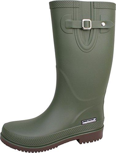BOCKSTIEGEL® JETTE - Standard/K/KB Botas de goma cortos para Mujer | Hebilla del lado de moda | Logotipo de la marca | Producción europea | Acogedor olive / brown