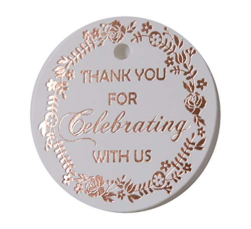 Thank You Tags, Round Circle Gift Tag, 30 Pack, Off-White Paper, Rose Gold, Foil Print Collection (Tag1 Rose Gold)