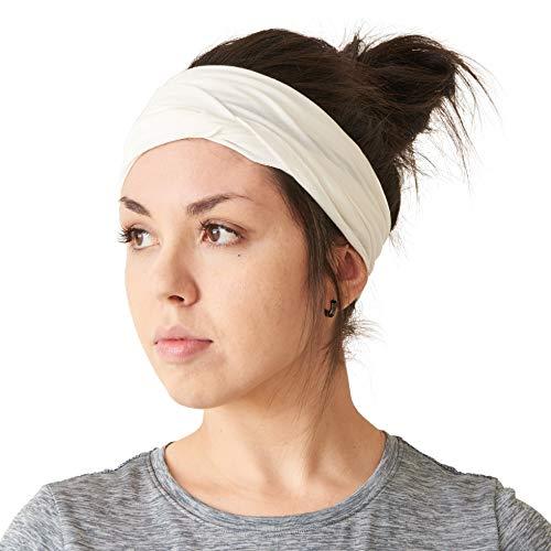 CHARM mens Elastic Bandana Headband Japanese Long Hair Dreads Head wrap White (Best Long Hair Men)