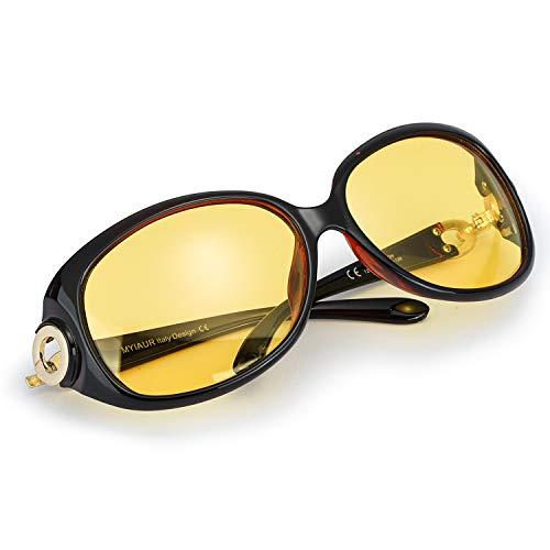 Myiaur Oversized Night Driving Glasses for Women, Polarized Lens Stylish,Safety ()