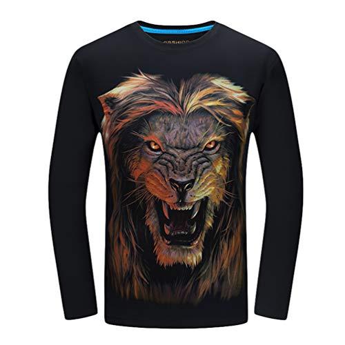 6xl S Stampate Grafiche Magliette Maniche Girocollo Tees A Lunga T 3d shirt Nero Uomo Kairuun qR7Sw7