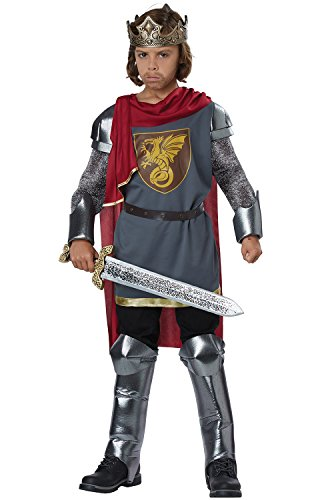 Medieval King/King Arthur Boys Costume Silver/Red