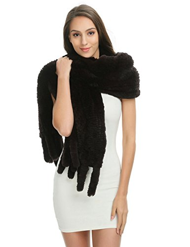 Ferand Women's Luxury Soft Genuine Rex Rabbit Fur Warm Shawl Scarf With Tassels for Winter, One size, Brown(Rex rabbit fur) by Ferand