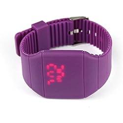 GOTD Girl Boy Waterproof Digital LED Touch Sports Silicone Bracelet Wrist Watch (Purple)