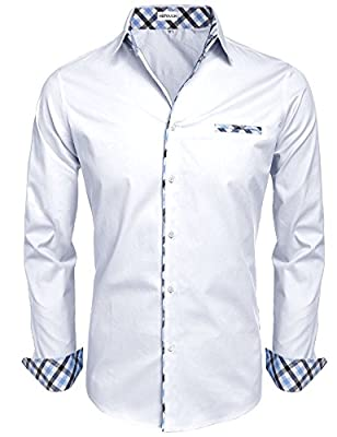 Hotouch Men's Fashion Button Up Shirt Slim Fit Dress Shirt Contrast Long Sleeve Casual Button Down Shirts