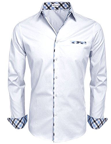 - Hotouch Men's Regular Fit Turn Down Collar Dress Shirt White M