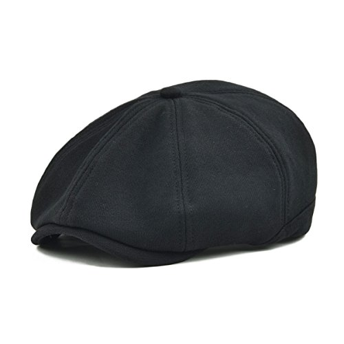 Black Newsboy - VOBOOM Men's Cotton Flat Ivy Gatsby Newsboy Driving Hat Cap (Style4-Black)