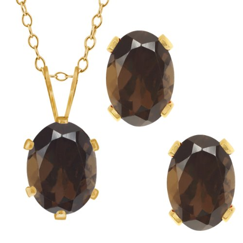 [2.70 Ct Oval Brown Smoky Quartz Gold Plated Silver Pendant Earrings Set] (Stone Pendant Earrings)