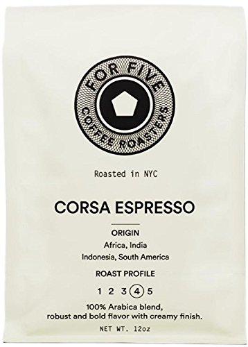 For Five Coffee Roasters Corsa Espresso Dark Roast (Origin: Africa, India, Indonesia, South America), Whole Bean 12 oz by For Five Coffee Roasters