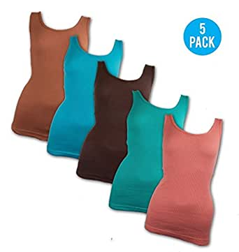 Andrew Scott Women's 5 Pack Tank Top S Assorted Colors