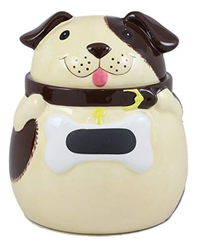 (Ebros Ceramic Adorable Fat Puppy Dog With Brown Eye Patch Cookie Jar 7.25